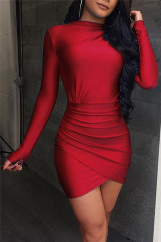 Sexy Pure Color Long Sleeves Bodycon Dresses