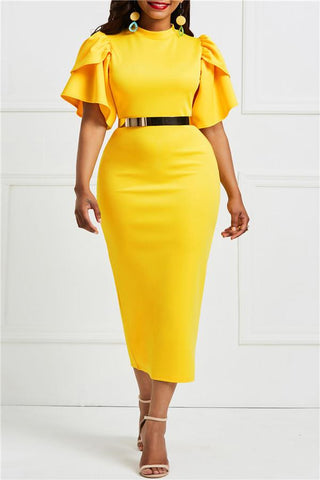 Fashion Short Sleeve Solid Color Bodycon Dresses