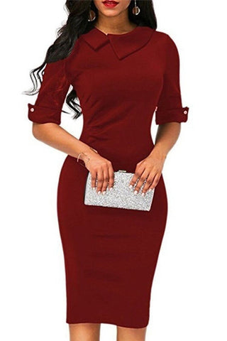 Fashionable Solid Color Five Sleeves Bodycon Dresses