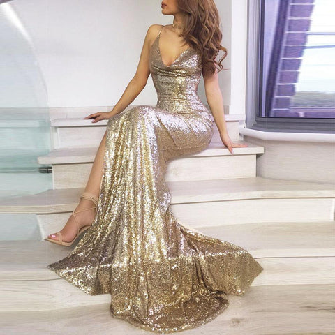 Fashion V-Neck Sequined Halter   Dress Maxi Dress