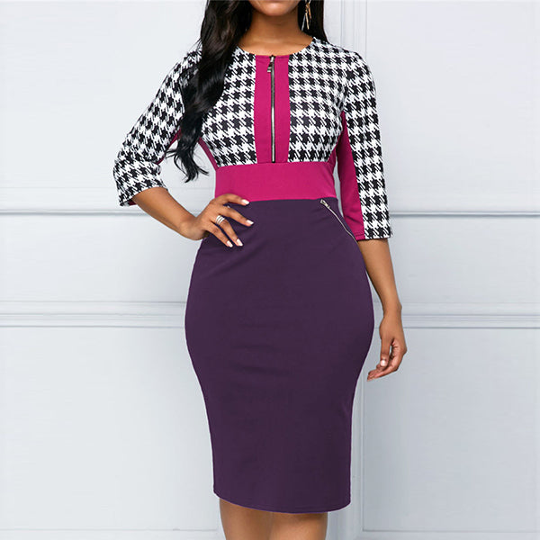 Fashion Houndstooth Contrast Color Zipper Slim Bag Hip Seven-Point Sleeve Pencil Skirts