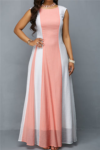 Fashion Contrast Round Neck Sleeveless Zip Long Dresses