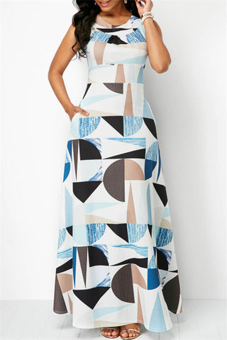 Fashion Sleeveless High Waist Geometric Printing Maxi Dresses