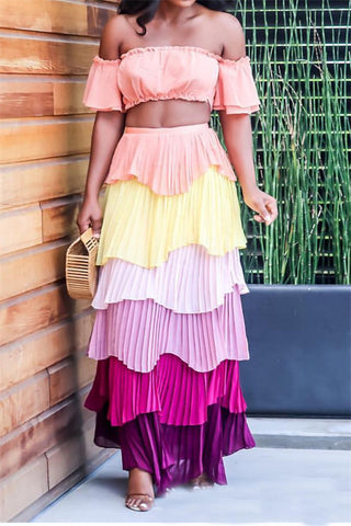 Sexy Multi Color Chiffon Cake Skirt Two Piece Suit