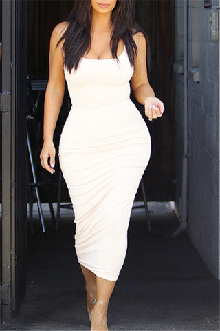 Sexy Sleeveless Vest Solid Color Bodycon Dresses