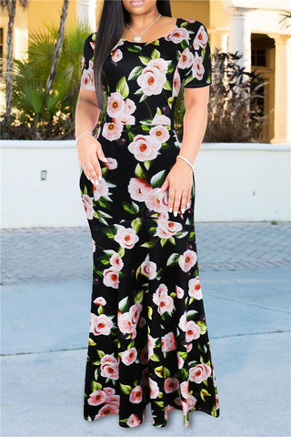 Fashion Short Sleeve Printing Vacation Slim Maxi Dresses
