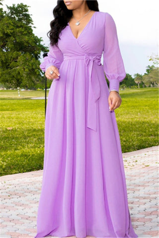 Fashion V Collar Pure Color Chiffon Evening Dresses