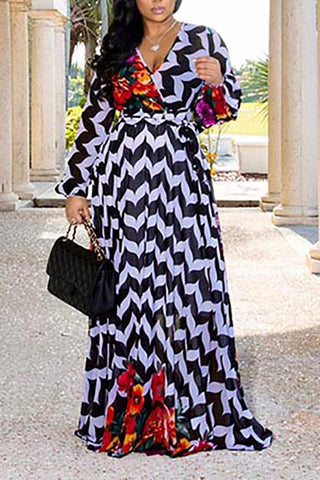 Long Sleeve V-Neck Digital Print Chiffon Maxi Dress