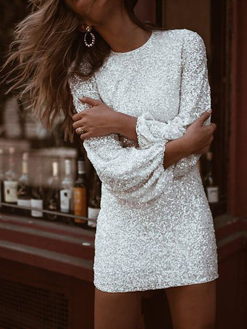 Elegant Round Neck Bubble Sleeves Mini Dress