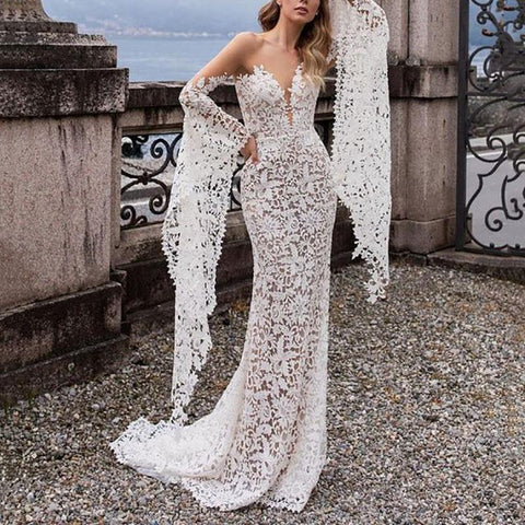 Sexy Lace V Neck  Off-Shoulder Floor-Length Evening Dress