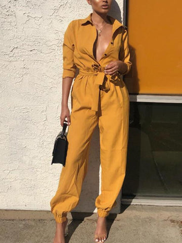 Casual Pure Color Long Sleeves Jumpsuits
