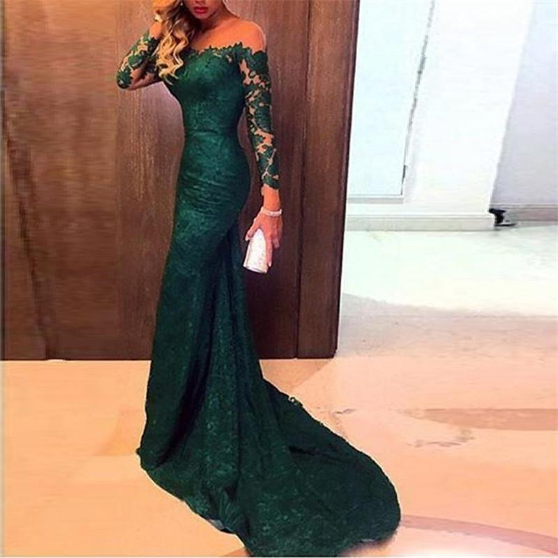 One-Shoulder Green Lace Long-Sleeved Mopping Evening Dress