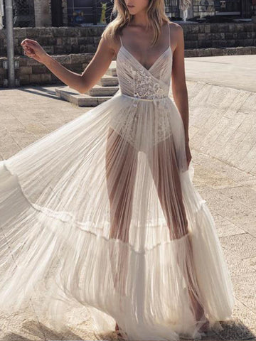 Elegant See-Through Sling Deep V Neck Sling Wedding Dress