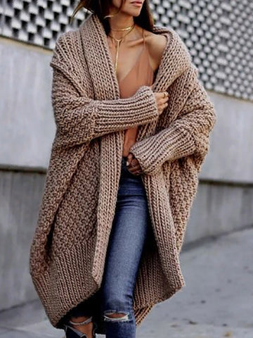 Fashion Pure Colour Long Sleeve Sweater Coat