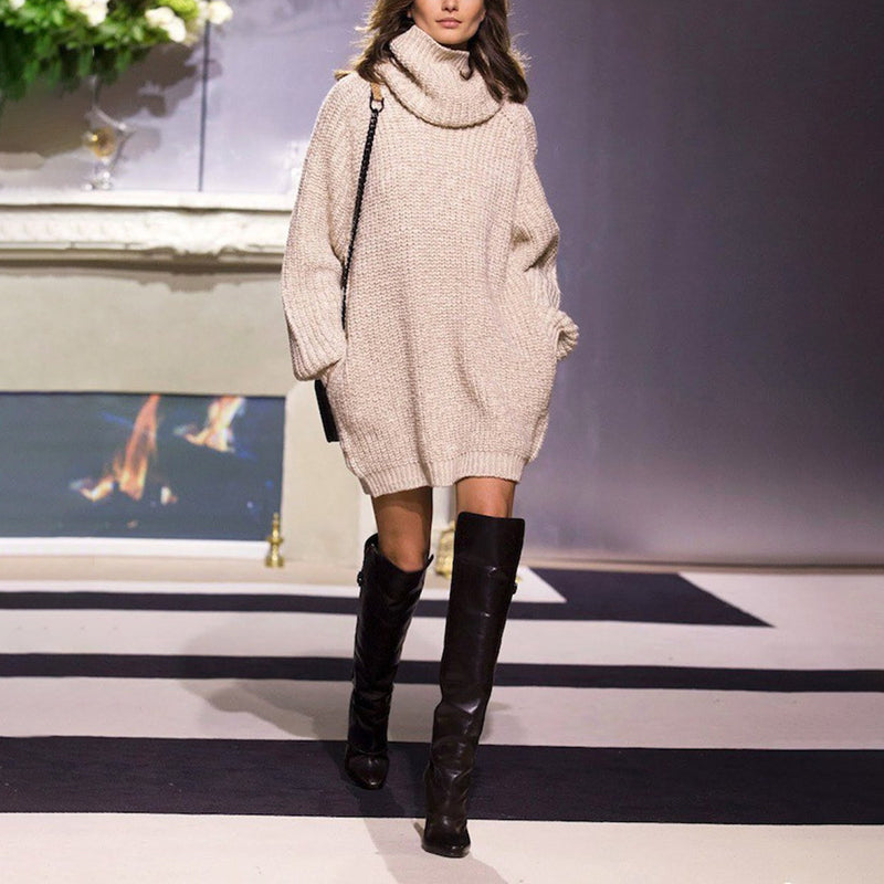 Fashion Knit High Collar Long Sleeve Pure Colour Loose Sweater