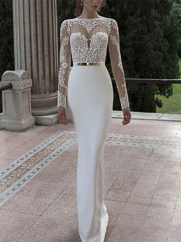 Elegant Lace Round Neck Long Sleeve Wedding Dress