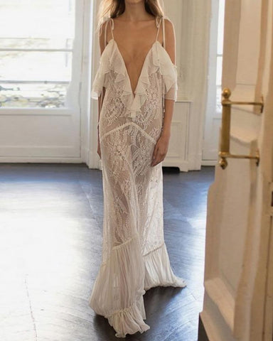 Fashion Sexy Lace Sling Off-Shoulder See Through Maxi Dress