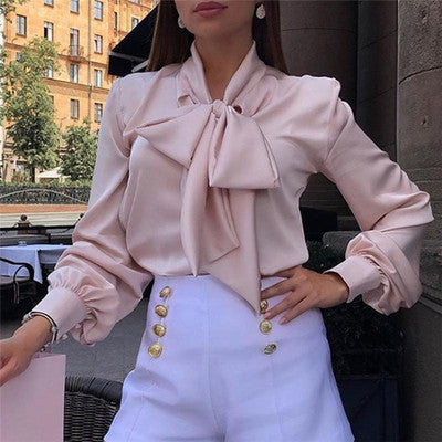 Fashion Elegant Bow Knot Long Puff Sleeves Blouse