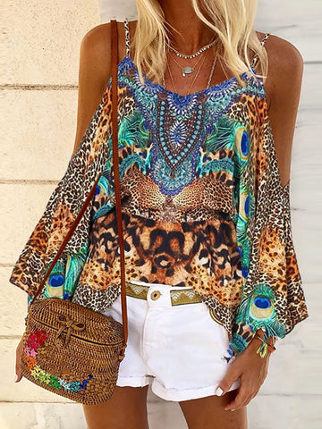 Bohemian Sling Off Shoulder Sleeve Print T-Shirt