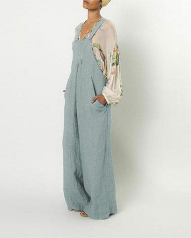 Cotton And Linen Casual Style Suspender Pocket Jumpsuit