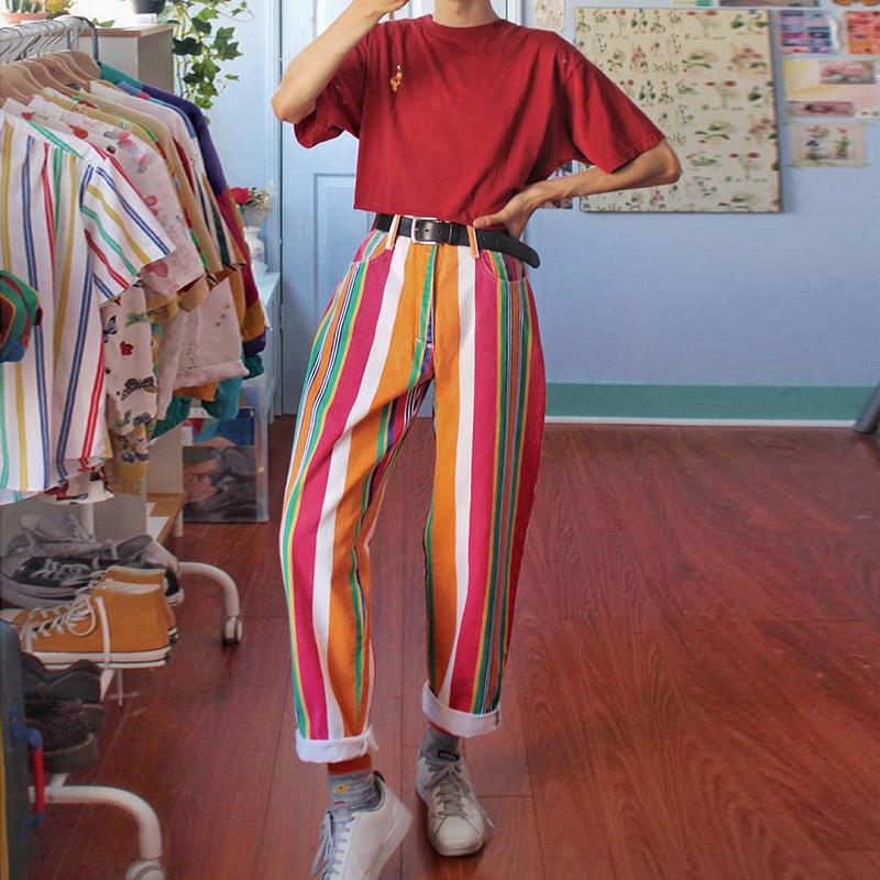Rainbow Color Vertical Stripes Straight Trousers