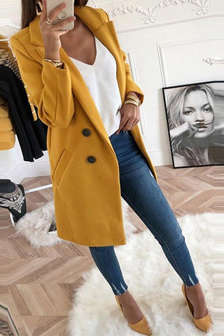 Ecogora Women's Lapel Long Sleeve Plain Button Pocket Casual Coats