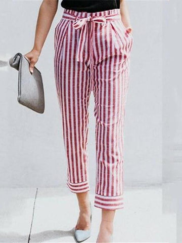 Fashion Slim Show Thin   Strips Casual Pants Straight Trousers