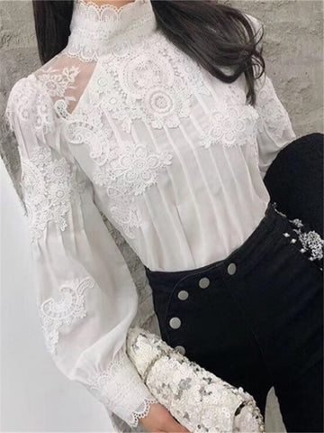 Women's Lace High Collar Long Sleeve Shirt