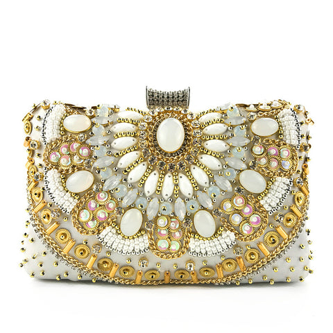 Beaded and embroidered fashion handbag