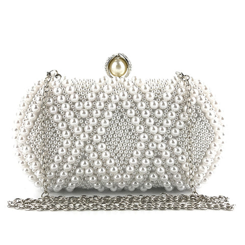 Women Fashion Prismatic Pearl Dinner Bag