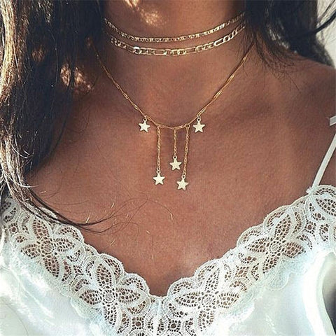 Multi-layer five-pointed star necklace