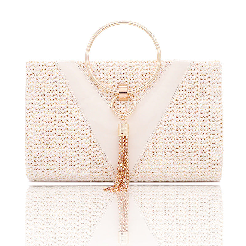 Retro ladies tassel metal ring hangbag