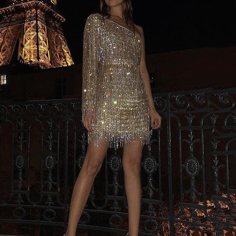 Fashion Solid Color Strapless Sequined Fringed Mini Dress
