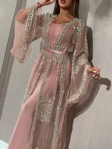 Ladies fashion mesh stitching sequins dress two-piece suit