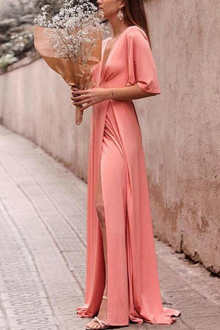 Casual Sexy Deep V   Neck Side Slit Pure Color Maxi Dresses