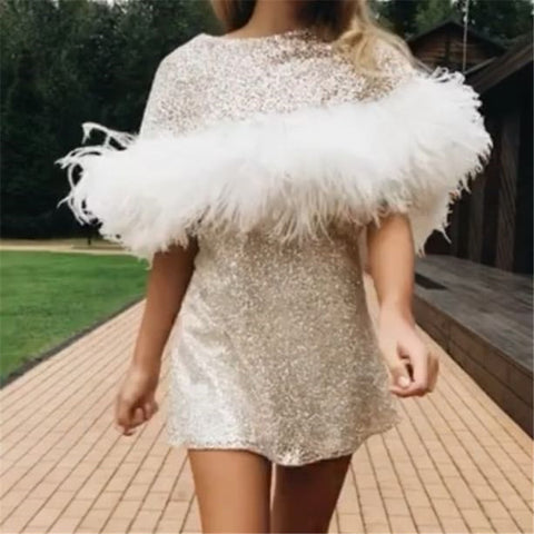 Fashion Round Neck Short Sleeve Feather Mini Dress