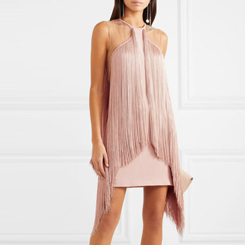 Sweet Halter Pure Backless Tassel Mini Dress
