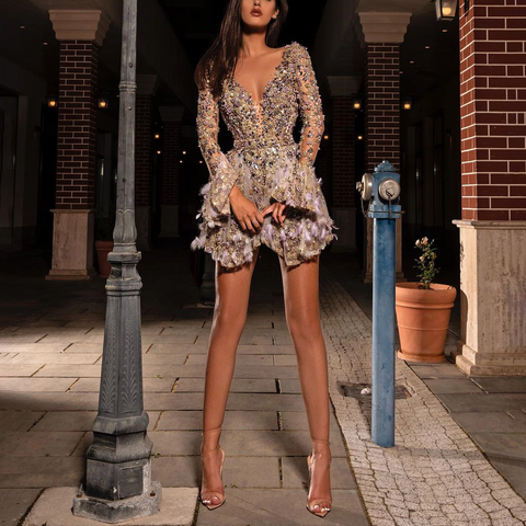 Fashion Deep V Neck Glitter Evening Dress