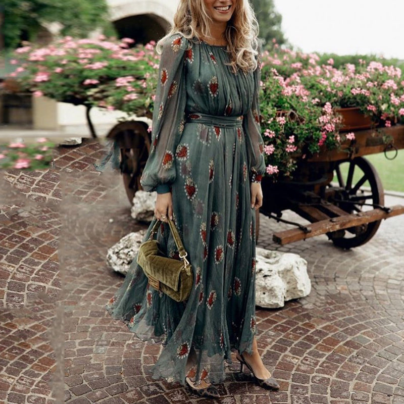 Fashion Round Neck Pleated Waist Lantern Sleeve Evening Maxi Dress
