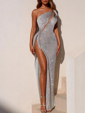 Sexy One Shoulder High Slit Dress