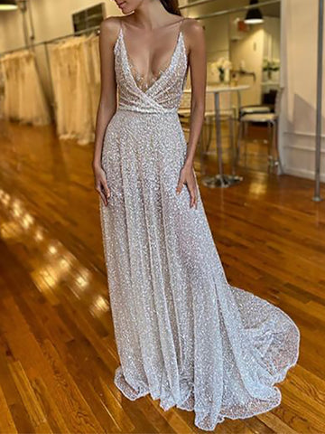 Sexy Strap Sequined Backless Evening Dress