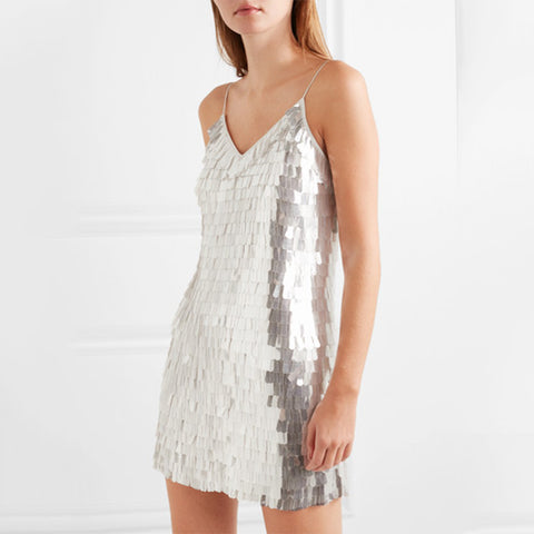 Lady sexy sequin above knee strappy dress