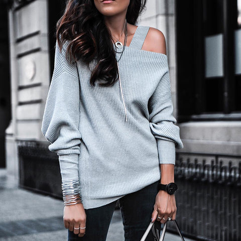 Casual solid color single shoulder long sleeve knitted sweater