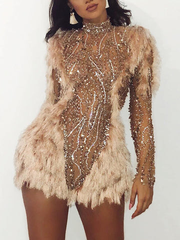 Fashion gold beaded stitching tassel long sleeve bag hip mini dress