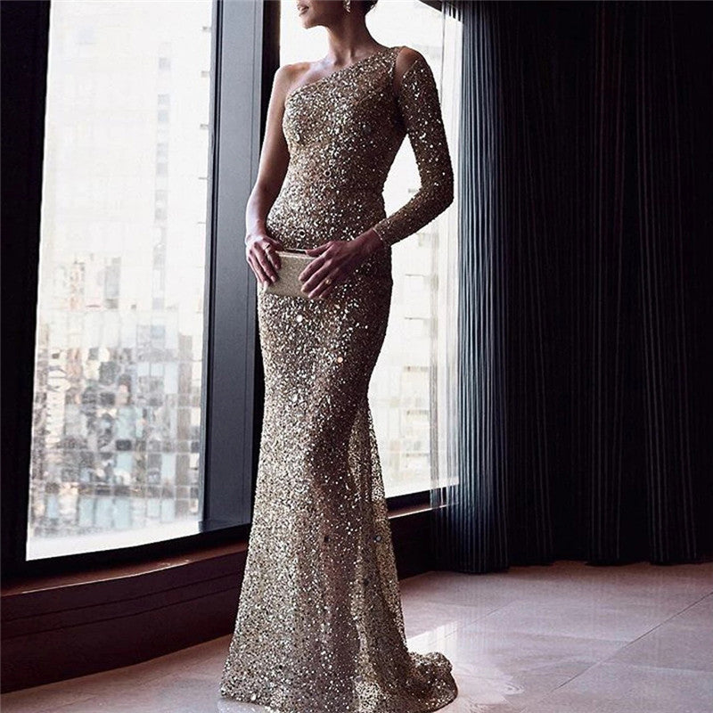 Sequined one-shoulder evening dress