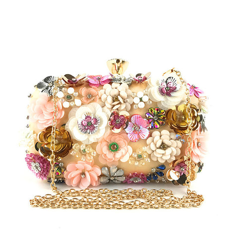 Women's fashion flower pattern beaded bag