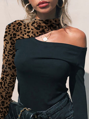 Fashion round neck stitching leopard off-shoulder slim t-shirt