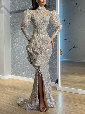 Fashion sequins bubble sleeve irregular evening dress