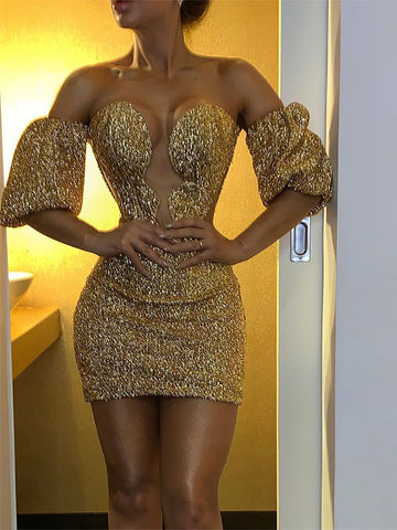 Lady sexy sequin off-shoulder v-neck mini dress