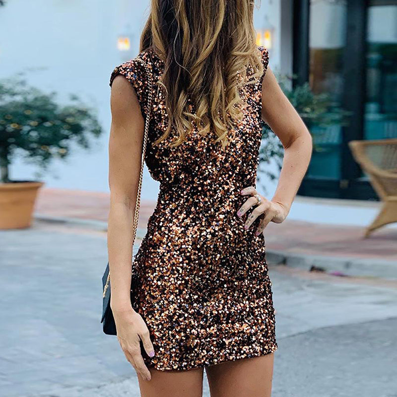 Glitter Backless Sleeveless Sequins Dress